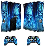 TQS™ Designer Skin Sticker for Xbox 360 Slim Console with Two Wireless Controller Decals- Skull of Blue Fire