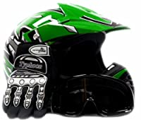 Youth Offroad Gear Combo Helmet Gloves Goggles DOT Motocross ATV Dirt Bike Motorcycle Green Black, Large by Typhoon Helmets