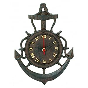 "Amazon.com - Rustic Cast Iron Vintage Anchor Clock 12"" - Marine"