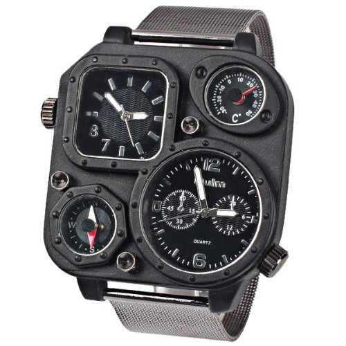 Mens Sports Analog Russia Military Army Multi-Time Zones 3 Times Quartz Leather Black Case Dial Wristband Watches