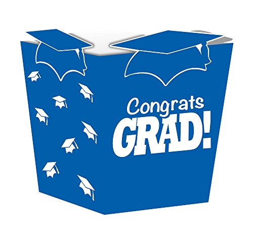 Creative Converting 4 Count Grad Shaped Treat Boxes, Blue