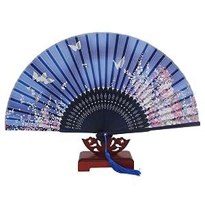 Japanese design silk handheld folding fan blue w fine flowers and butterflies ceiling fan - Japanese paddle fan ...
