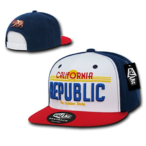 WHANG Cali Plate Design California 3-D Embroidery Cap_Wt/Rd/Nv_One Size (Nv Cali compare prices)