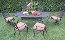 Hot Sale Outdoor Cast Aluminum Patio Furniture 7 Peice Dining Set B with 2 Swivel Chairs R CBM1290