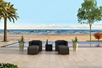 Hot Sale Urbana 5 Piece All-Weather Wicker Patio Club Chair Set with Sunbrella Canvas Charcoal (54048-0000) Cushions