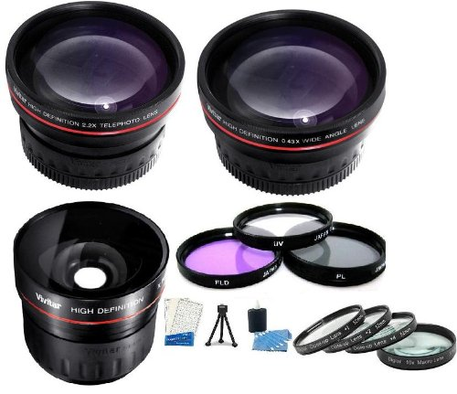 52Mm Fisheye Lens Kit Includes 0.21X Super Wide Angle Fisheye Lens + Hd .43X Wide Angle Lens + 2.2X Telephoto Lens + Multi-Coated 3 Pc Filter Kit (Uv, Cpl, Fld) + Close Up Kit +1 +2 +4 +10 + Mini Tripod + Camera Cleaning Kit + Lcd Screen Protectors For Pa