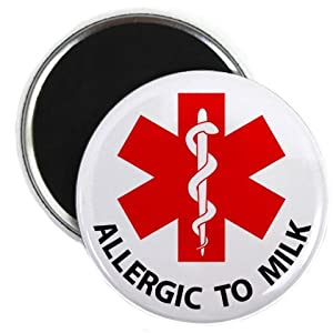 ALLERGIC TO MILK Medical Alert 2.25 inch Fridge Magnet by Creative Clam