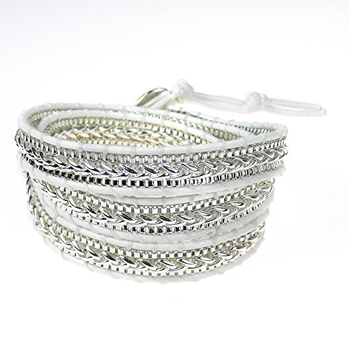Rocking White Metal Chain Snake Cord Rope Triple Wrap Bracelet