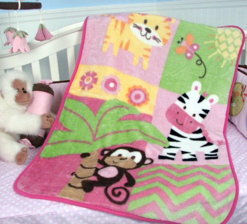 Soho Pink Jungle High Pile Blanket front-468696
