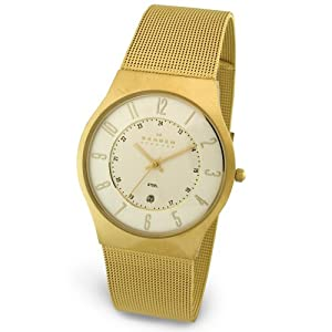 Skagen Men's Steel Collection Gold-Tone Mesh Stainless Steel Watch #233XLGG