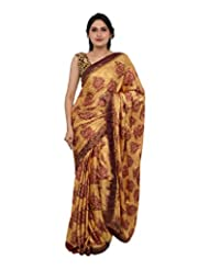Chandan Sarees Crepe Silk Self Print Chiku With Choclate Brown Print Saree