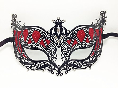 Fantasy Black Metal Venetian Masquerade Costume Red Glitter Mask with Rhinestones