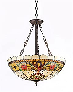 "Chloe Lighting CH31885VT20-UH3 ""BERLEENA"" Tiffany-Style Victorian 3 Light Inverted Hanging Pendant Fixture 20-Inch Shade"
