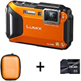 Panasonic Lumix DMC-FT5 Compact Camera - Orange + Case and 8GB Memory Card (16.1MP, 4.6x Optical) 3.0 inch LCD