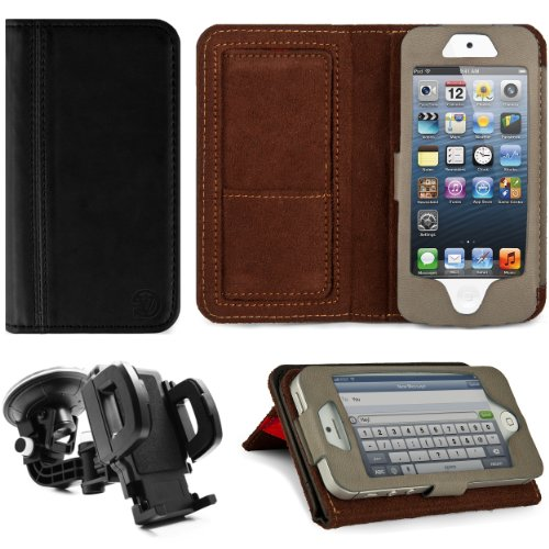 Special Sale Black VG Faux Leather Standalone Case for Apple iPhone 5 & Apple iPod Touch 5 (Compatible with All Models) + Mirror Screen Protector+ Universal Windshield Vehicle Mount