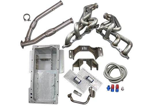 LS1 LSx T56 Mount Kit + Headers Exhaust Mid Y Pipe + Oil Pan 240SX S13