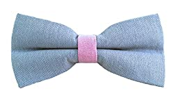Pastel Color Pre-tied Adjustable Length Adult Bow Tie (Blue-Pink)