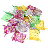 100pcs Mixed Color Sheer Plain Organza Jewelry Wedding Gift Bag Pouch 7x9cm