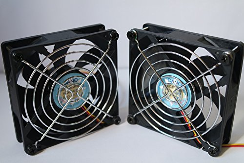 CANO (2 PACK) cooling fan with Grill long life Dual Ball Bearing fan for pc, Computer Cases, CPU Coolers, and Radiators , TV Box Router Cooler(92mm DC12V) (Battery Fan Grill compare prices)