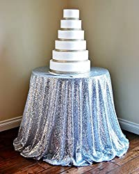 SILVER SEQUIN TABLECLOTH, Silver Wedding Tablecloth, Silver Glitter Tablecloth, Silver Sparkly Tablecloth (96in round)