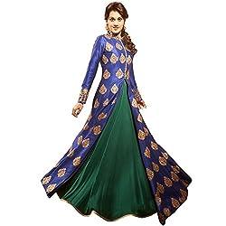 SK Fashion Women's Blue-Green Banglori Anarkali Unstitched Salwar Suit Dress Material (Dress_190_FreeSize_Blue-Green )