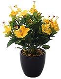 Fourwalls Artificial Hibiscus Flowers in Glazed Ceramic Vase (Yellow)