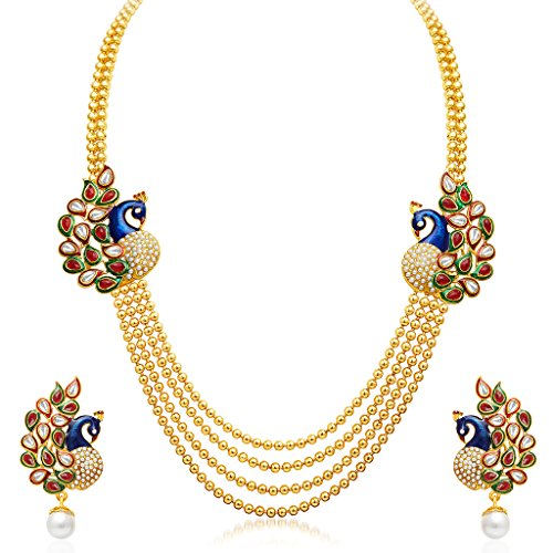 Sukkhi Gleaming Peacock Four Strings Gold Plated Necklace Set for Women