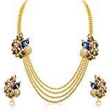 Accessories Best Deals - Sukkhi Gold Plated Multi Strand Necklace With Drop Earring For Women