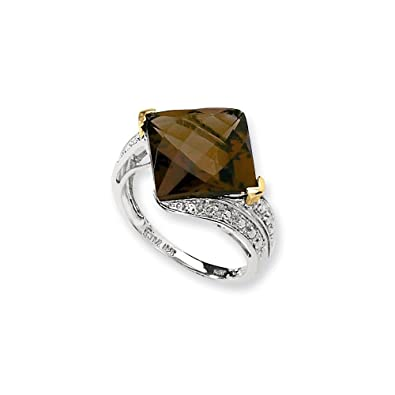 Sterling Silver & 14K Whiskey Quartz & Diamond Ring