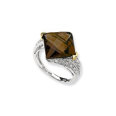Sterling Silver & 14K Whiskey Quartz & Diamond Ring