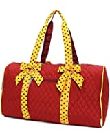 """Belvah Large Quilted Solid Color 21"""" Duffle Bag with Polka Dot Detachable Ribbons"""