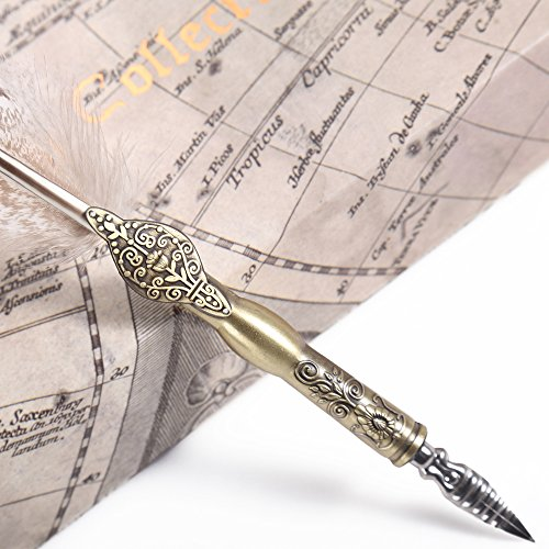 GC Writting Quill Feather Pen - 2 Bottle Inks -100% Hand Craft- Copper Pen Stem – Antique True Feather Metal Nibbed Calligraphy Pen, Dip Pen L16112 For Harry Potter Fans 6
