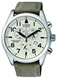 Citizen Eco-Drive Men's Quartz Watch with White Dial Chronograph Display and Grey Green Fabric Strap AT2290-01A