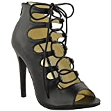 Fashion Thirsty Womens High Heels Stilettos Lace Up Gladiator Ankle Sandals Peep Toe Size