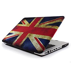 GMYLE(TM) Vintage Union Jack UK Great British Flag Rubber Coated Hard Shell Carrying Case Cover for Macbook Pro 13.3 inches with Black bottom case