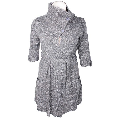 Tommy & Kate Boutique Ladies Charcoal Twist Yarn Cardigan with Belted Waist in Size 14