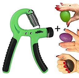 Adjustable Hand Gripper and 3 Hand Grip Balls - Resistance Range of 22lbs to 88lbs - Green