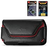 Samsung Galaxy S3 / S 3 / S4/ S 4/ S IV/ Rugged Heavy Duty Horizontal Leather Case Pouch Holster With Belt Clip Secure Belt Loops and Magnetic Closure (Fits with Samsung Galaxy S3 / S4 otterbox Defender / Commuter case / Lifeproof Case on) + Cell Phone Antenna Booster and Anti Radiation Shield Accessory Bundle by Leather Factory Outlet