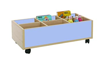Mobeduc 600905HR14 Carrello-Libreria bassa, in legno, colore: faggio/azzurro lavanda, 80 x 40 x 27 cm
