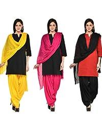 Gangaur Fashion Multi Colour Women's Patiala And Dupatta Set Of 3 ( Free Size) - B06WRPWFFZ