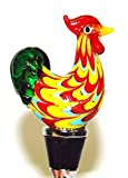 Yellow Rooster Glass Wine Bottle Stopper