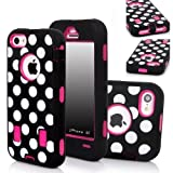 QIBOX Armor Hybrid Polka Dot Soft Silicone PC Hard Back Case Cover for Apple iPhone 5C - Black + White + Hot Pink