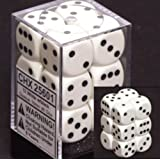 Opaque 16mm d6 White w/Black Dice Block 12 pipped dice