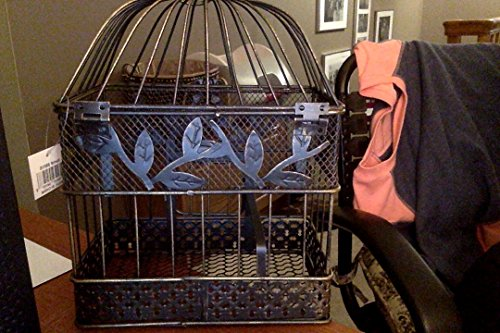 Vintage Bird Cage, Rectangular, 14 in. & 17 in., Black & Gold, Set of 2 1