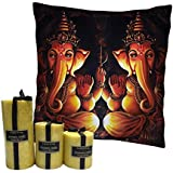 MySocialTab - Diwali Gift Combo Of 12X12 Inches Ganesh Ji Cushion And Set Of 3 Scented Pillar Candles,DIWALIGIFTS810MST...