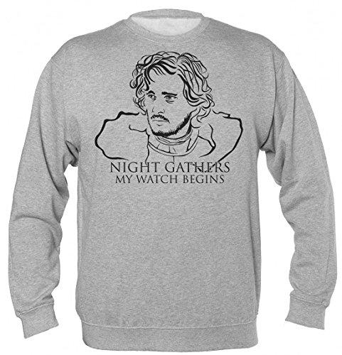 Game of Thrones Jon Snow Night Gathers and My Watch Begins Unisex Sweatshirt XX-Large