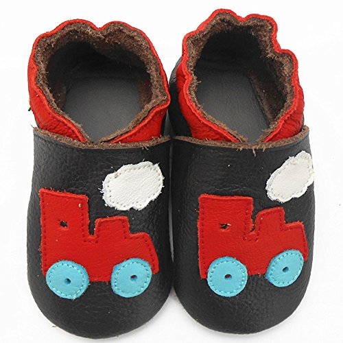 Sayoyo Baby Tractor Soft Sole Brown Leather Infant and Toddler Shoes 12-18months