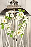 Heart Wreath Winter White Artificial Roses & Hydrangea ~ Country Wall Decor Home or Wedding