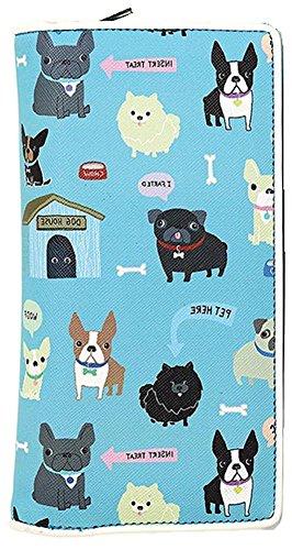 colorful-puppies-bi-fold-zip-around-wallet