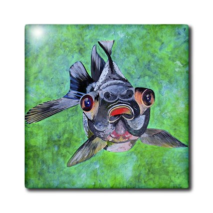 Ct_46714_2 Taiche - Acrylic Painting - Fish - Black Moor Goldfish - Black Moor Goldfish, Telescope Goldfish, Goldfish, Dragon Eye Goldfish - Tiles - 6 Inch Ceramic Tile